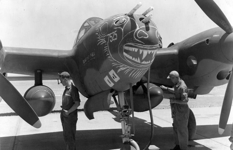 A us lockheed p 38f lightning named bat out of hell bat out of hell of the 94th fighter squadron in tunisia the personal plane of pilot james j hagenback