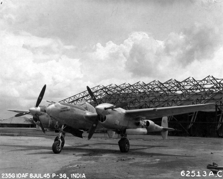 Lockheed p 38 lightning hammers destruction company 10th air force india 8 july 1945 nara 342 fh 3a33693 62513ac