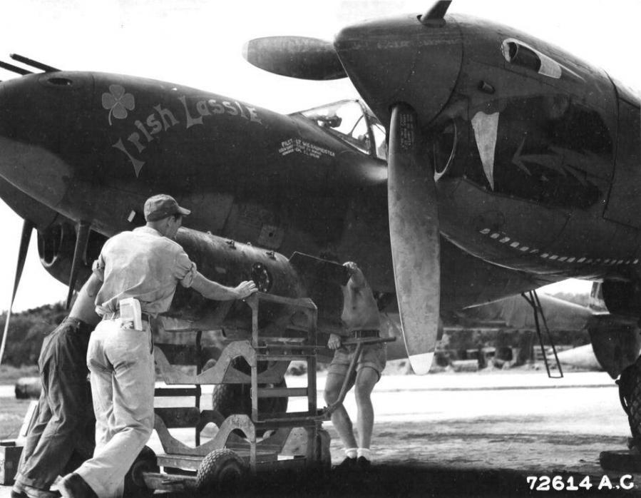 Lockheed p 38j 10 lo 42 67842 irish lassie lt william g baumeister jr loaded with a mark 13 aerial mine chittagong india bangladesh summer 1944 nara 342 fh 3a33878 72614ac