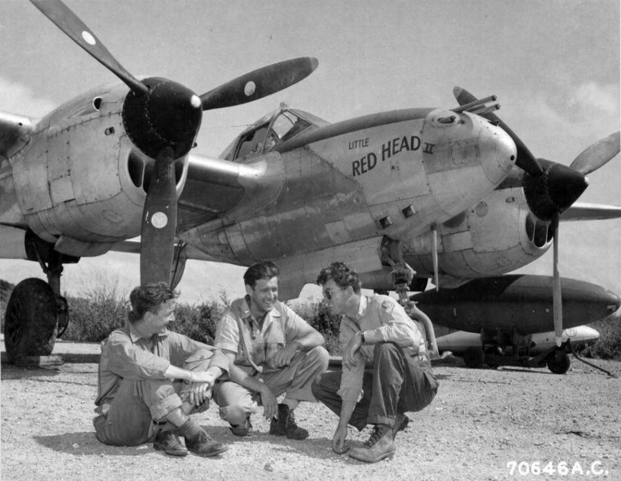 Lockheed p 38l lightning little red head ii 1st lt owen r mc caukl 73rd fs 318th fg nara 342 fh 3a39031 70646ac marianas islands