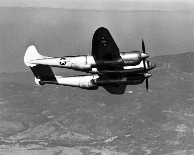 Lockheed xp 58 in flight