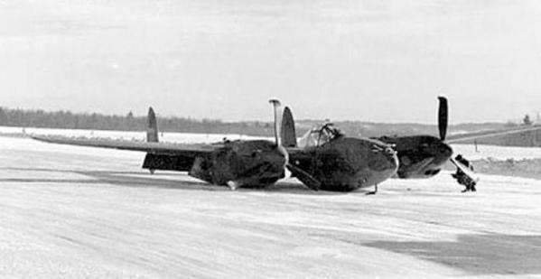 Wwii p 38 with skis crashed