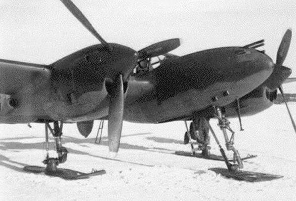 Wwii p 38 with skis front view
